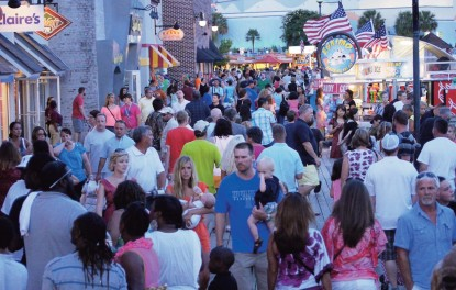 Visitors enjoying Broadway at the Beach in Myrtle Beach SC